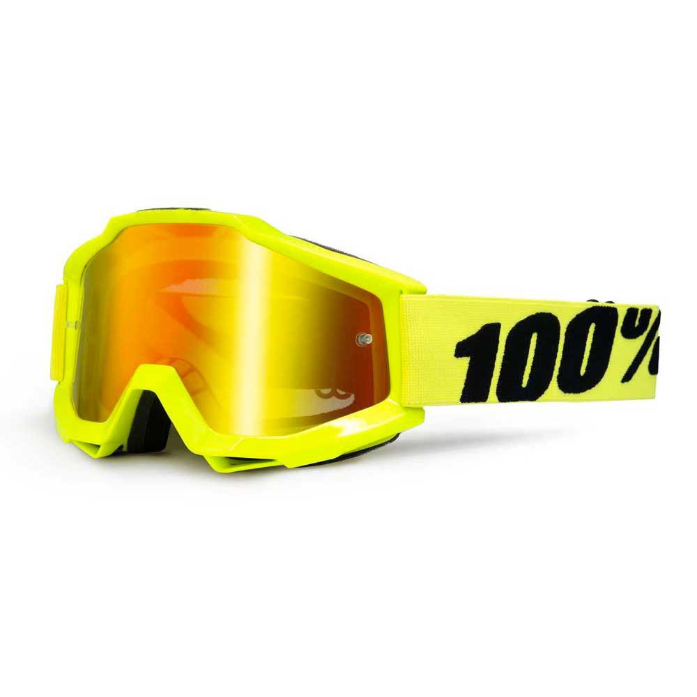 Máscaras 100percent Goggle Accuri Fluo Yellow Red Mirror