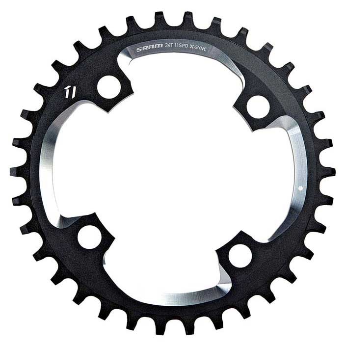 Sram Chain Ring X-Sync 34T 94BCD Alum 5mm Black w CNC Silver 11 speed