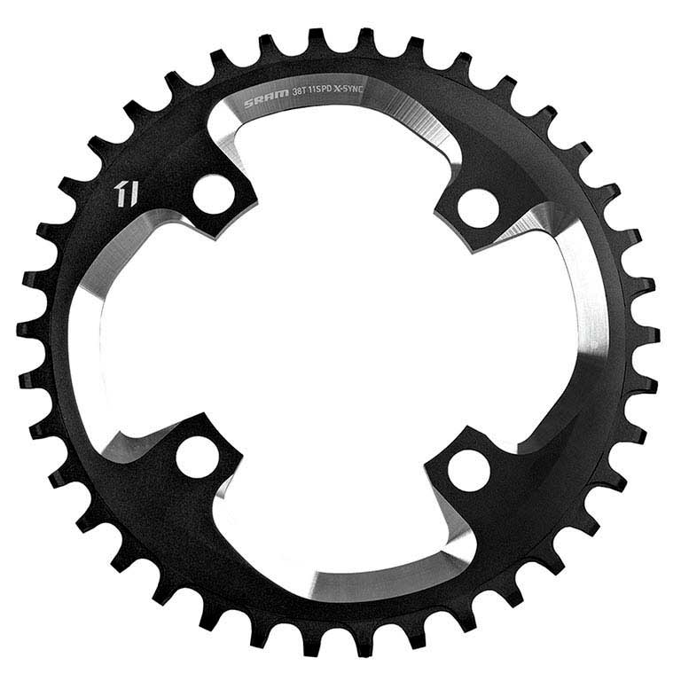 Sram Chain Ring X-Sync 38T 94BCD Alum 5mm Black w CNC Silver 11 speed