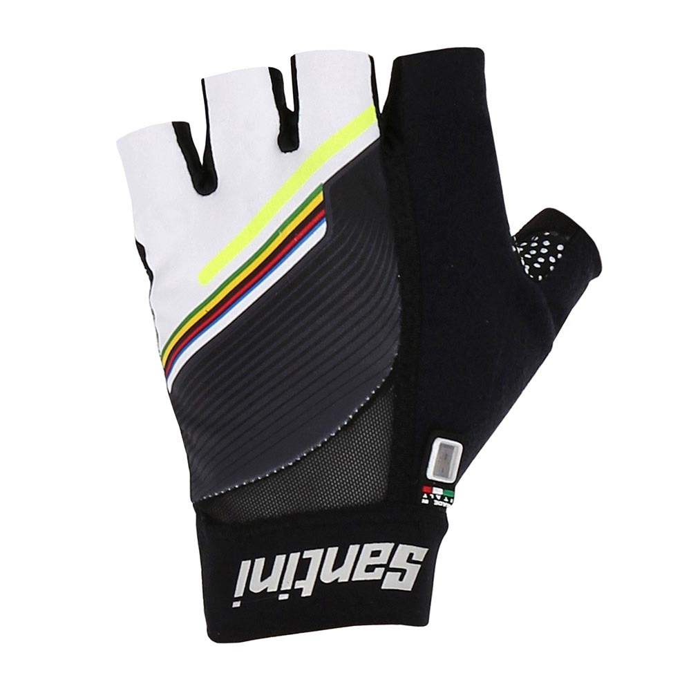 e4f01224 Santini UCI Rainbow World Champion Gloves Hvid, Bikeinn Officielt udstyr