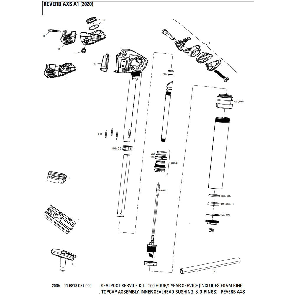 Rockshox 200 Hours Seatpost Service Kit For Reverb Axs